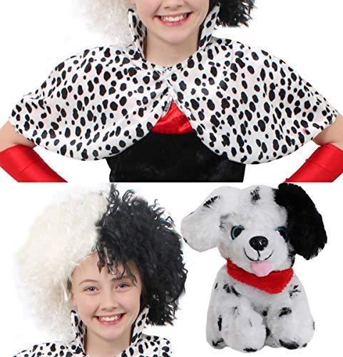 infantil Dálmata estampado EVIL perro Mujer Disfraz capa PERFECTA PARA EL COLEGIO Carnaval & CARNAVAL PERSONAJE Accesorio para disfraz