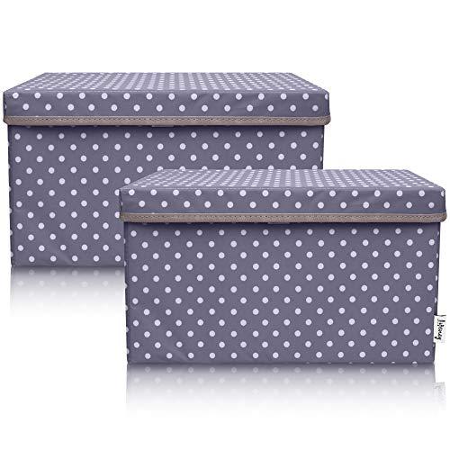 Lifeney 2-Set Aufbewahrungsbox Kinder (37x25x21cm) I Aufbewahrungskorb für Kinderzimmer und Wohnbereich I Kinder Aufbewahrungskiste (Dunkelgrau Punkte)