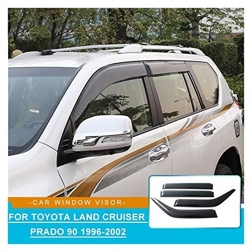 JIUTAI Deflectores de Viento ABS Lado Ventana Deflectores Víspera De Ventana De Coche Visor Sun Rain Flick Fllector Accesorios para Toyota Land Cruiser Prado 90 5Door Deflectores Aire