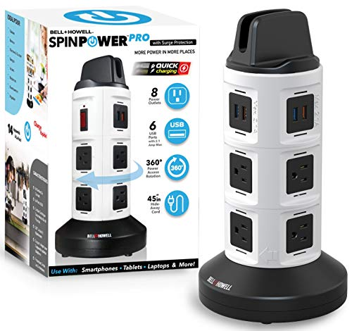 Spin Power Deluxe by Bell+Howell 360 Degrees Swivel Design, Surge Protector Electric, Charging Station – Comes with 8 Outlets 6 USB Ports with 45  Retractable Cord Built-in Phone Holder As Seen On TV