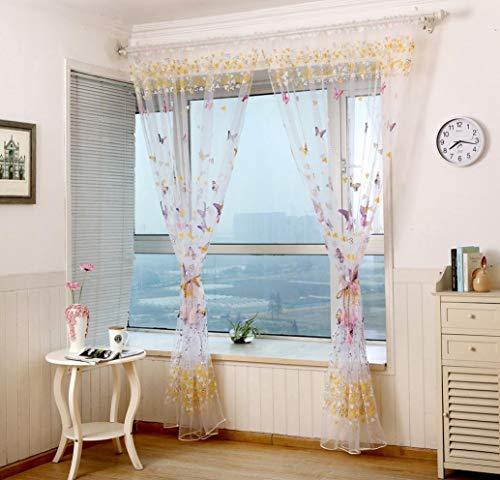 Nvfshreu clode 1Pc 200Cm X 100 cm vlinder tule deur raam eenvoudige stijl gordijn transparante voile sjaal volants (groen)