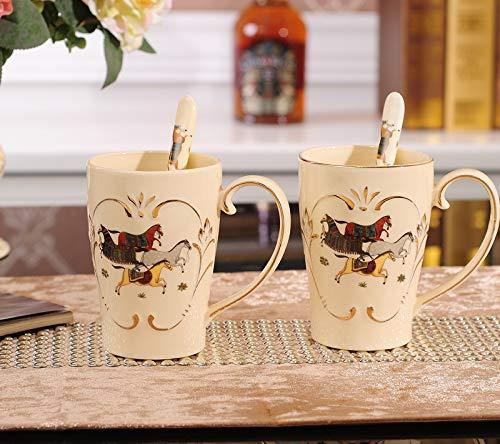 Amgend Europäischer Kaffeesatz Nach Hause Kaltes Wasser Flasche Gesetzt Nach Hause Explosionssicher Wasserflasche Becher Kaffeetasse Löffel, Champagner Farbe Pferd 2 Tasse