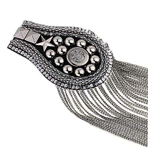 2 pcs Long Tassel Vintage Epaulet Handmade Chain Shoulder Brooch Unisex for Ceremony Performance (Gun)