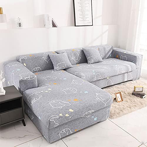 Funda para sofá en Forma de L Funda elástica,Fundas Sofa Elasticas Chaise Longue,Extraíbles y Lavables,Moderno Cubre Sofa Chaise Longue Universal Fundas Protectora para Sofa contra Polvo