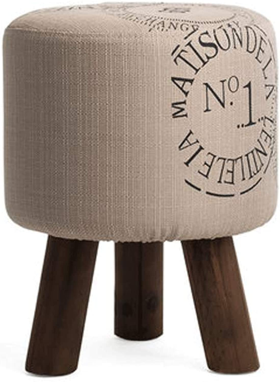 Solid Wood shoes Stool Linen Living Room Footstool Simple Modern Style Beige