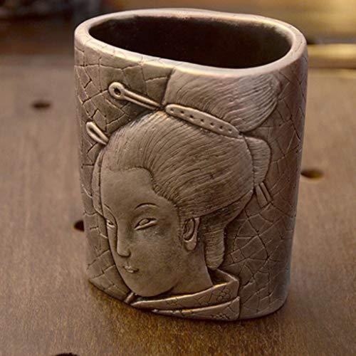 CS Estilo chino Creativo Retro Japonés Kimono Chica Tenedor de la Pluma Cenicero Novio Compañeros Regalo Personalizado Bar Personalizado (Color : Silver)