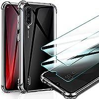 AROYI Funda Xiaomi Mi A3 + 2 Pack Vidrio Templado, [Reforzar la versión con Cuatro Esquinas] Cristal Silicona Ultra Suave Flexible TPU Gel Carcasa Protección Caso para Xiaomi Mi A3 - Transparente