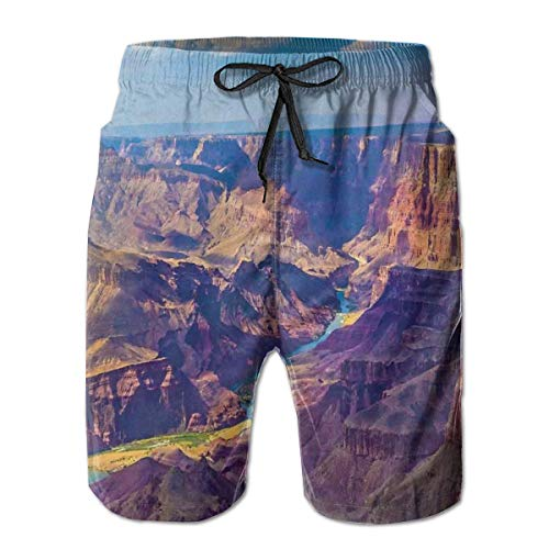 Men's Big and Tall Swim Trunks Beachwear Drawstring Summer Holiday,Aerial View of Epic Grand Canyon Activity of River Stream Over Rock Plateau Print,XL,3D Print Shorts Pants