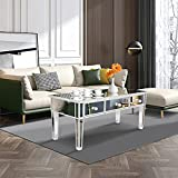 MTFY Mirrored Coffee Table,Mirrored Modern Rectangle Accent Tea Table Sofa Desk with 3 Drawers,Smooth Finish with Crystal-Style Knobs for Living Room Bedroom