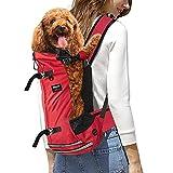 KINGSLONG Mochila para Perros, Mochila Ajustable para Mascotas Gatos Perros Bolsa de Viaje Malla Transpirable Suministros para Mascotas por Caminar Acampar - Rojo XL