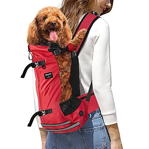 KINGSLONG Mochila para Perros, Mochila Ajustable para Mascotas Gatos Perros Bolsa de Viaje Malla Transpirable Suministros para Mascotas por Caminar Acampar - Rojo M