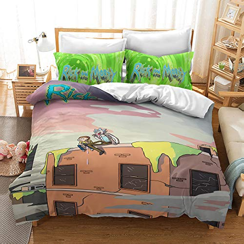 Enhome Duvet Cover Bedding Set for Single Double King Size Bed, 3D Anime Boy Microfiber Duvet Set Quilt Case with Pillowcases (Rick and Morty G,200x200cm)