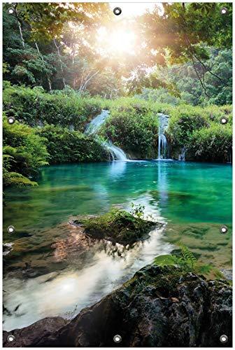 Wallario Garten-Poster Outdoor-Poster, Türkisgrüner See im Nationalpark in Guatemala in Premiumqualität, für den Außeneinsatz geeignet