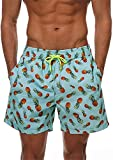 Trajes De Baño Playa para hombre Hombres cortos para hombre de verano Natación Pantalones cortos Traje de baño Traje de baño Troncos de natación Piña impresa con cordón Cintura de secado rápido Surfin