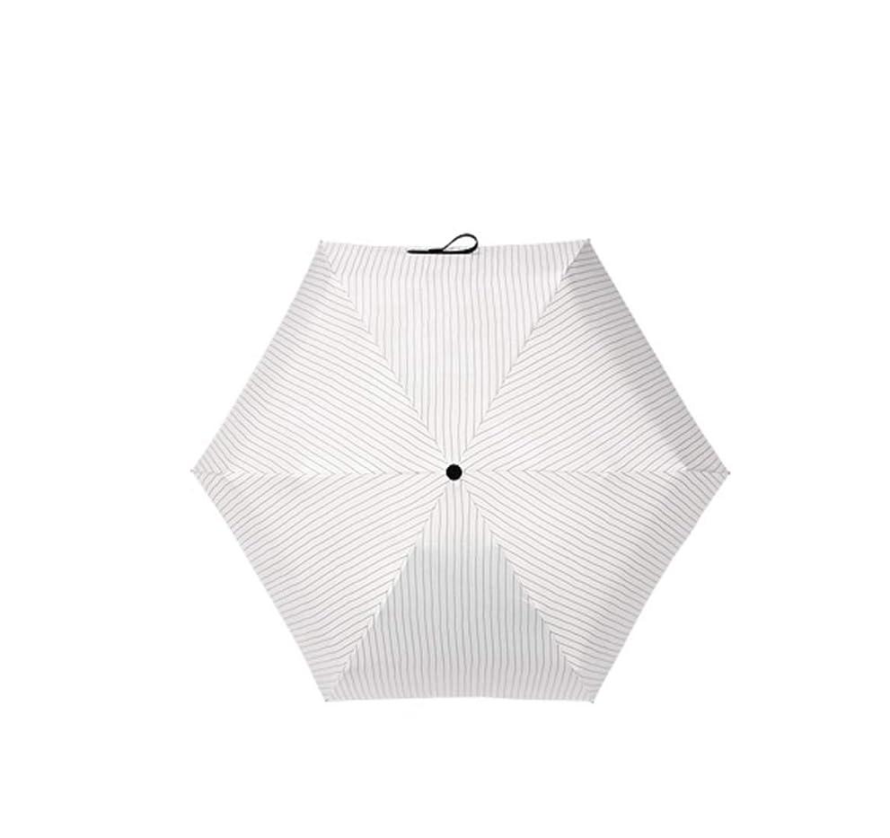 我慢する吸収一族Honana 傘 超軽量縞模様日焼け止め傘ミニサンシェードUVプロテクション女性折りたたみ傘防風 耐風 梅雨対策 晴雨兼用 (色 : ホワイト)