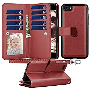 Tyline Wallet Case for iPhone 8 Plus/7 Plus for iPhone 8 Plus Case/iPhone 7 Plus Case PU Leather ID Credit Card Slots Holder Folio Flip [Detachable] Lanyard Kickstand Magnetic Phone Cover -WineRed