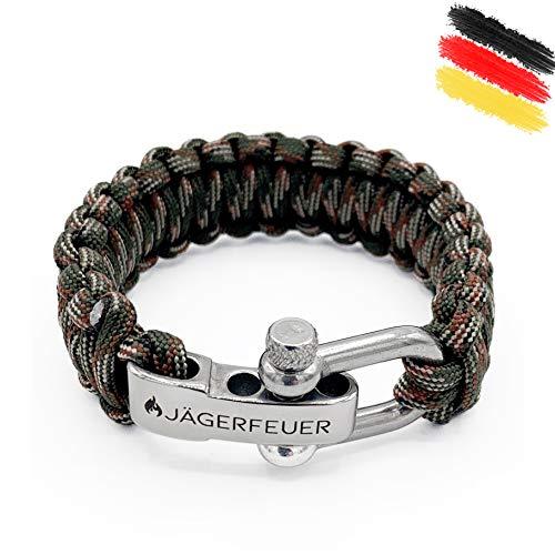 Jägerfeuer Paracord Survival Armband für Herren/Damen mit einstellbarem Edelstahl Verschluss (Army Camouflage)