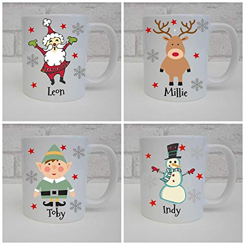 Personalised Christmas name mug with Santa, Reindeer,...