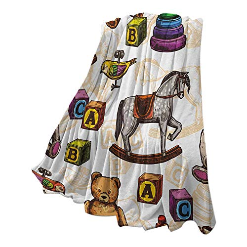 Anmaseven Vintage Throw Blanket for Couch Warm Plush Retro Style Kids Toys Rocking Horse Teddy Bear and Bird Illustration Print Brown and Grey 70' W x 84' L
