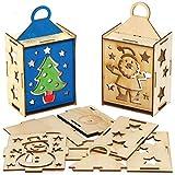 Baker Ross AX557 Weihnachten Laternen aus Holz Bastelset für Kinder - 3 Stück, Festliche Kreativsets und Bastelbedarf zum Basteln und Dekorieren zur Weihnachtszeit