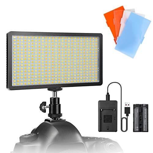 Panel de luz de video regulable Enegon (416 LED) con batería recargable de 4000 mAh, cargador, zapata +4 filtros de color para cámaras, Nikon, DSLR de Canon, videocámaras, trípode, CRI95 + 3200K-5600K