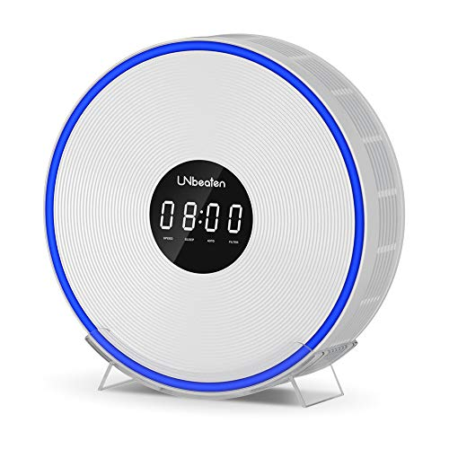 UNbeaten Air Purifiers for Home Bedroom with H13 True Hepa Filter, Air Purifier with Clock and Night Lights for 560 ft²/45㎡ Room, Remove Dust, Smoke, Allergy and Pets Odor, Ferris 360 White