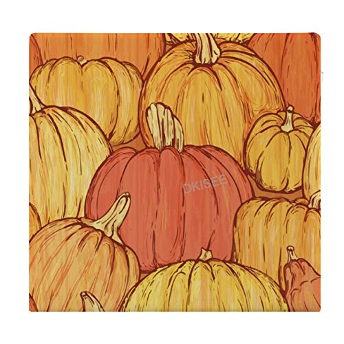 DKISEE Halloween Fall Pumpkin Round/Square Seat Cushion, Polyester Soft Memory Foam Chair Pad for Tatami Carpet Wooden Floor Office Kitchen Dining Chairs, 15x14 Inch