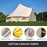 BuoQua Bell Tent Canvas Tent with Stove Hole Cotton Canvas Tents Yurt Tent for Camping 4-Season Waterproof Bell Tent for Family Camping Outdoor Hunting 3