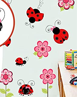 skyllc Lovely Ladybug Wall Stickers Animals Cartoon Nursery Stickers Colorful Kids Room Mural
