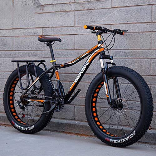 AISHFP Mens Fat Tire Mountain Bike, Strand Schnee-Fahrrad, Leichte High-Carbon Stahlrahmen Fahrrad, Doppelscheibenbremse Cruiser Bikes, 26-Zoll-Räder,A,7 Speed