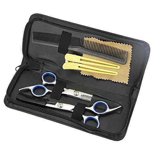8 PC Ciseaux Coiffure Professionnel Kit -HTIANC 1 x Salon de Coiffeur Ciseaux + 1 x Coupe de Cheveux Amincissement + 1 x Peigne + 1 x Chiffon D'essuyage +1 x Huile + 1 x Pince + 1 x Silencieux+ Sac