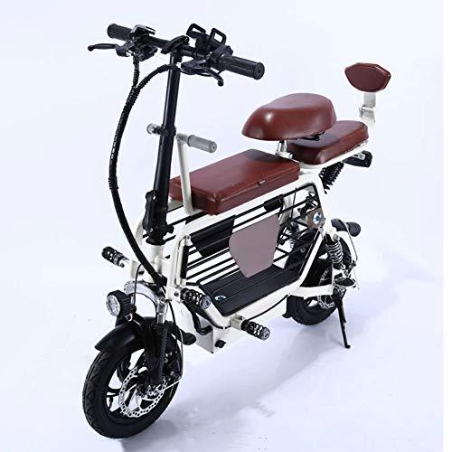 12' Bicicleta Eléctrica Bicicleta Plegable Material de Acero con Alto Contenido de Carbono Motor de 350w 48v 8ah-18ah 25 Km/h con Cesta de Almacenamiento de Gran Capacidad Bicicleta de Montaña,Blanco