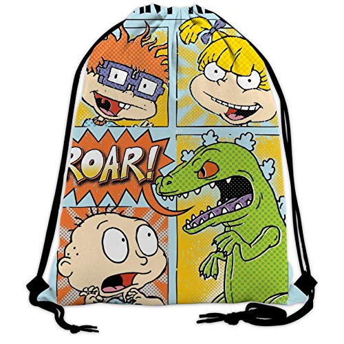 Rug_Rats Reptar Double-Sided Drawstring Backpack Bags Sack Pack Cinch Tote Sport Storage Polyester Bag for Gym Traveling