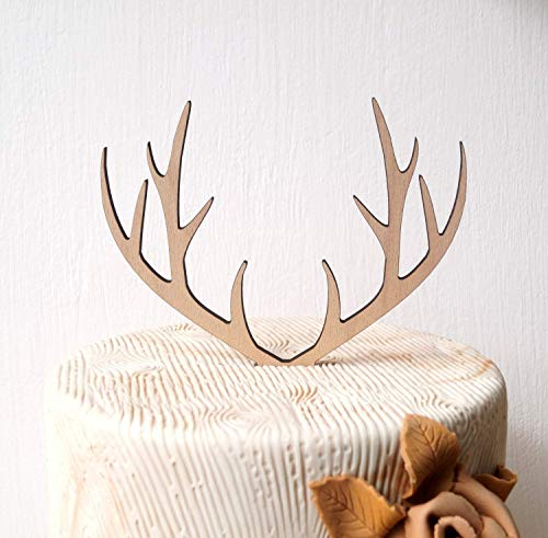 Antlers cake topper, wedding cake topper, deer antlers topper, rustic wooden cake topper, woodland wedding decoration, your choice of wood