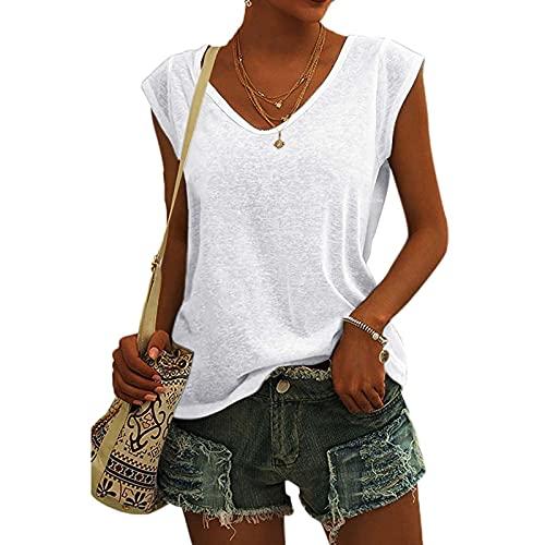 2021 T-Shirt Femme été sans Manches Col V Débardeur Femme Sexy été Debardeur Sport Tee Shirt Femme Ete Chic Sexy Crop Fille Ado Crop Top Haut Gilet Décontracté avec Boutons Basique Gilet Couleur Unie