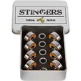 Yellow Jacket Premium Skateboard Bearings, Pro Longboard Bearings, 608, ABEC 11, Washers and Spacers, Tropical Orange (Pack of 8)