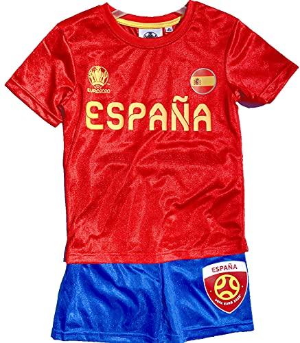 TVM Europe Spanien Espana Trikotset Fußball Länder Kinder Jungen + Mädchen Alter 5 6 7 8 9 10 11 12 JahreTrikot + Hose Rot - Grün Gr.116 128 140 152 (116)