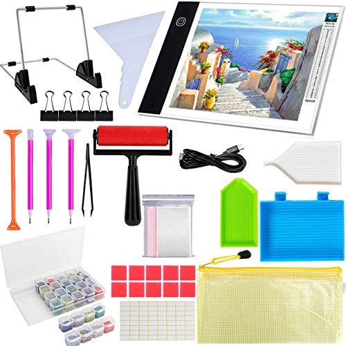 QAQGEAR Accesorios y herramientas de pintura de diamantes, tablero de almohadilla LED de pintura de diamante A4 Kit de almohadilla de luz de alimentación USB regulable, mesa de luz de seguimiento