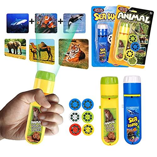 Linterna para niños, Proyector para niños Linterna Pequeña presentación de diapositivas Animales marinos + Animales del bosque, para niños Story Beamer Juguetes (48 imágenes, 6 discos de diapositivas)