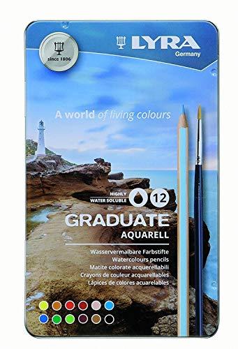 Lyra Graduate Aquarell Colored Pencil Set, Assorted Colors, Set of 12