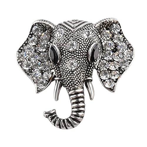 LALANG Crystal Elephant Brooches Vintage Brooch Pin Jewelry Gifts for Women (vintage silver)