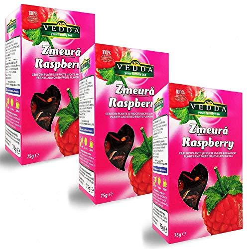 Vedda, Himbeere Tee (100+ Tee Tassen), 100% Ganze Früchte und Blätter, Hibiskus, Apfel   Reich, Verjüngend, Energizing und Aromatischer Himbeer Tee (Packung von 3, Gesamt 225g)