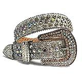 DDSP Correa para Hombres Mujeres Rhinestones Belt Western Cowgirl Cowboy Bling Crystal Pin Hebilla Diamante Tachuelas Cinturones (Belt Length : 46 Inch, Color : Silver)