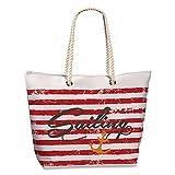 Strandtasche Marine Look Streifen Rot Anker Sailing Henkel Tasche Shopper Umhängetasche