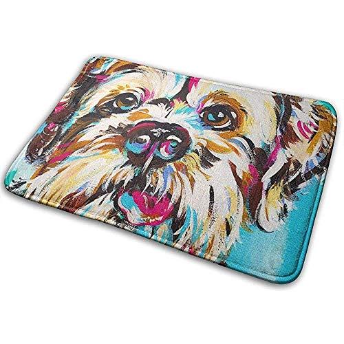 Joe-shop Yorkipoo hond kunst blauw Tiro op terra tapijt Accent Party Set Outdoor Badkamer voetmat