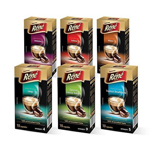 Cafe Rene - Rene Classic Pack - 10 x Nespresso Kompatible Kaffeepads (6 Stück)