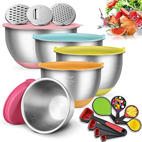 Ponteroy Rührschüsseln,Edelstahl Salat Schalen (5-teiliges Set,1.5QT/2QT/2.5QT/3.5QT/5QT) mit 3 Reiben,luftdichte Deckel und Silikon Böden zum Kochen,Extra Zubehör 4 Messbecher und 4 Messlöffel
