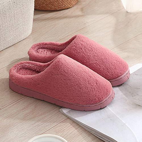 lanying Zapatillas Hombre Mujer Invierno Zapatillas para otoño e Invierno en Interiores, Zapatillas de casa, Zapatos Gruesos Antideslizantes-Rojo_40/41