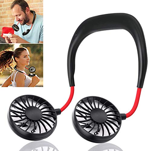 ENEM Portable USB Rechargeable Wearable Handsfree Neck Band Fan, 3 Speeds, 360 degree Adjustment – Kitchen, Gym, Running, Walking, Home, Office, Travel, Camping, Reading, Leisure- Black