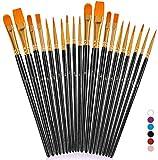 Paint Brushes for Rock Painting, 20 Pcs Black Round Pointed Tip Art Paint Brush Set, Nylon Hair Artist Acrylic Paint Brushes for Acrylic Oil Watercolor, Face Nail Art, Miniature Detailing